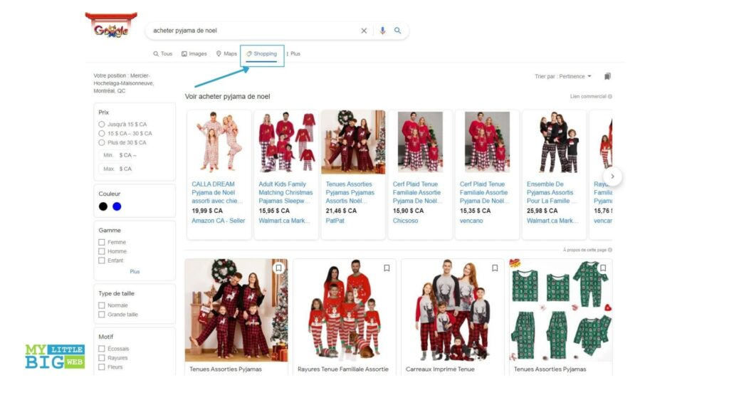 Affichage resultats shopping campagne google shopping