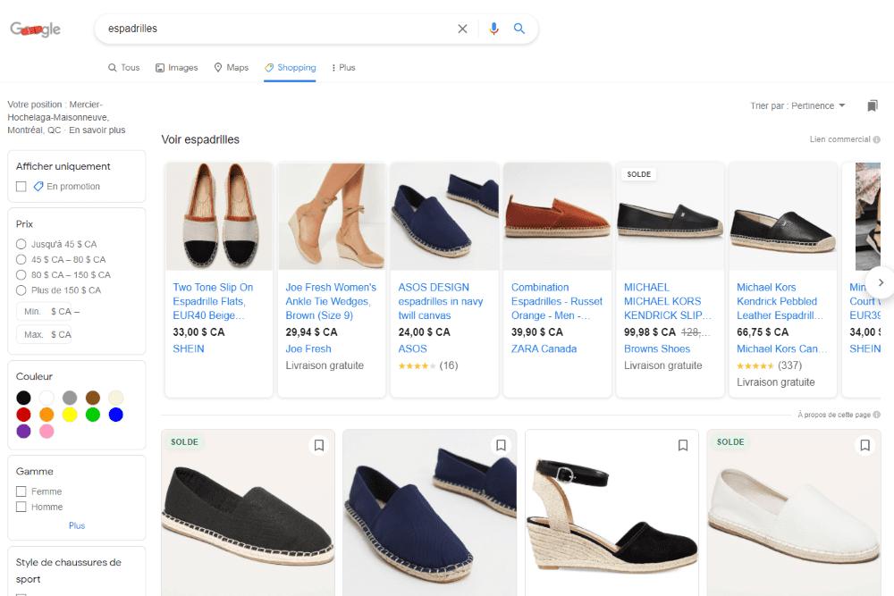 Images produits campagne google shopping