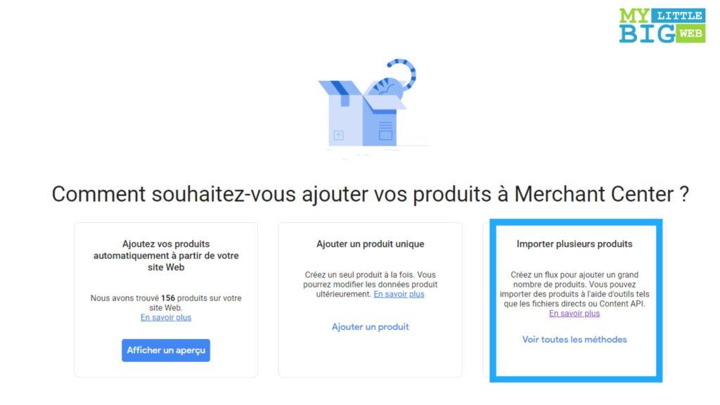 : Ajout flux donnees produits campagne google shopping
