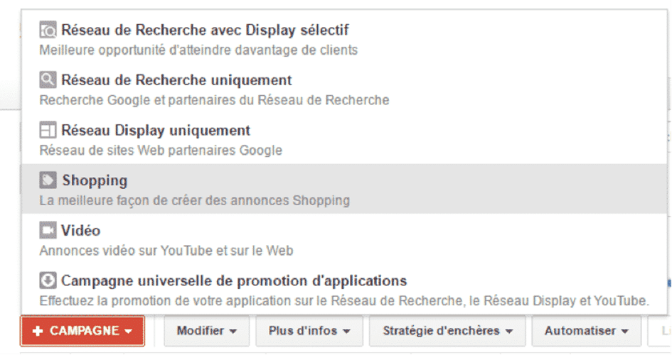 Creation campagne google shopping sur adwords