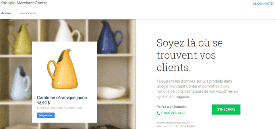 Page accueil google merchant center campagne google shopping