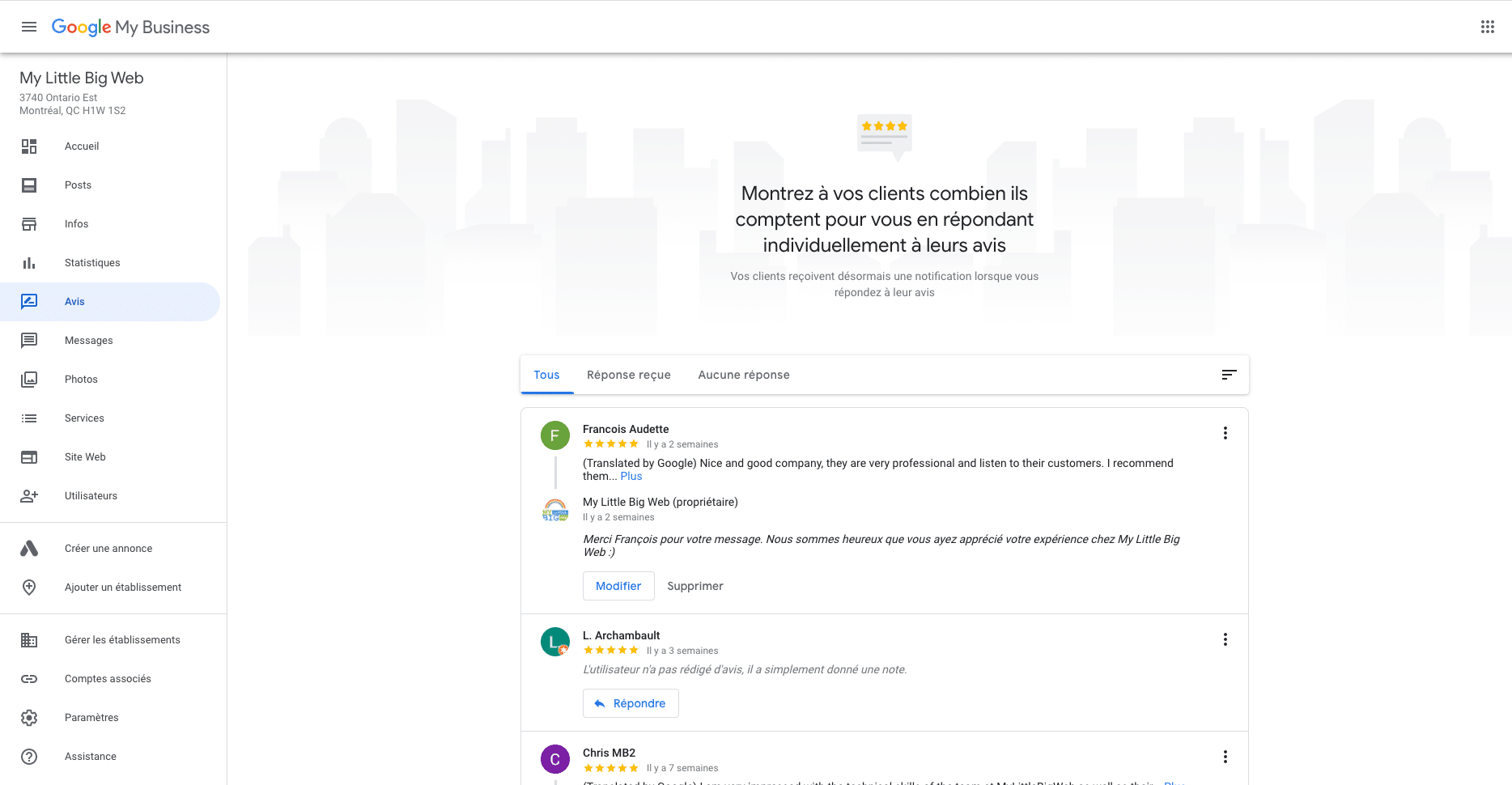 Avis positifs Google Mon Entreprise