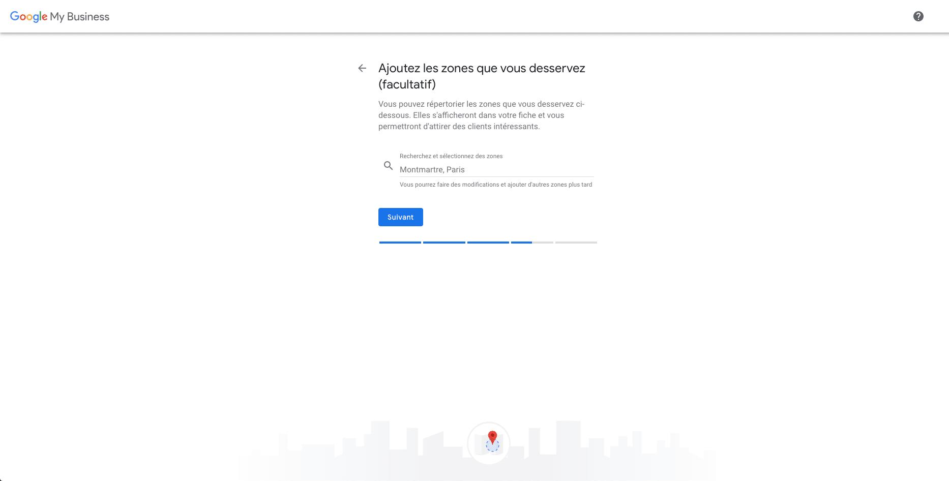 Ajout zone géographique création fiche Google Mon Entreprise