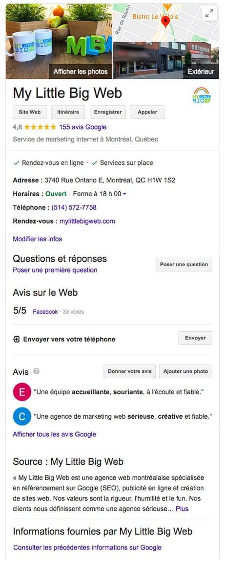 Fiche Google My Business agence web