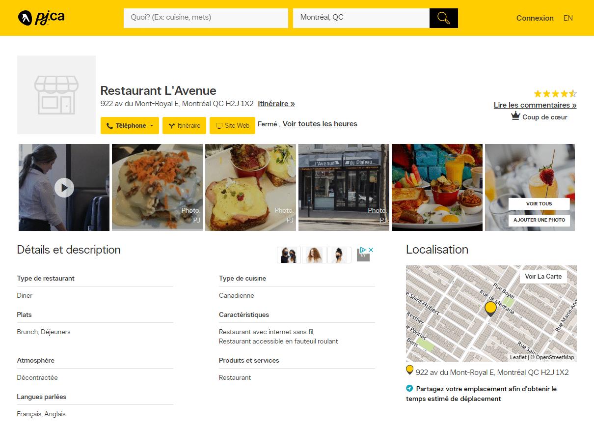 SEO Local Pages Jaunes - Restaurant l'avenue