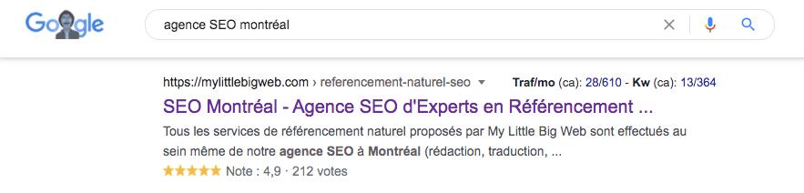 résultat de recherche SEO