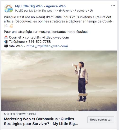 partage article page facebook