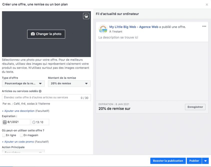 offre à proposer aux fans de page facebook