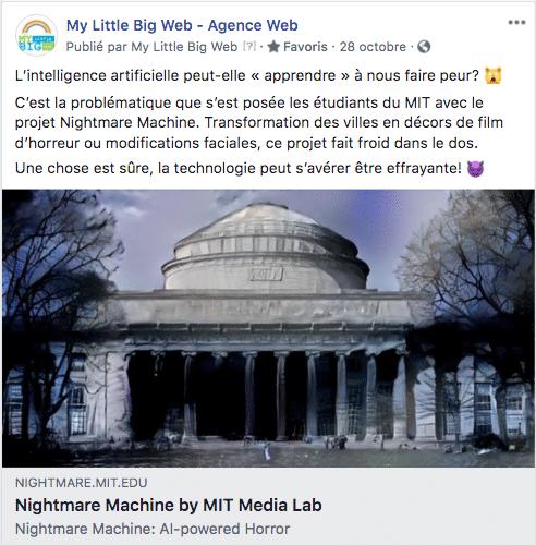 contenu page facebook Halloween