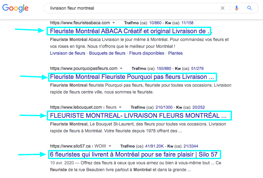exemple balise title resultats de recherche