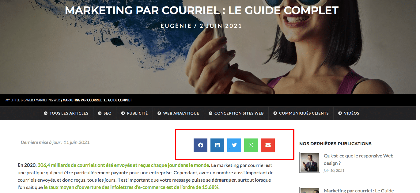 partage contenu site Web