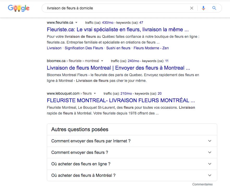 résultat de recherche mot clé de longue traine
