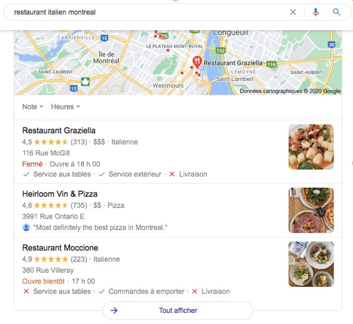 résultat SEO vocal restaurant italien