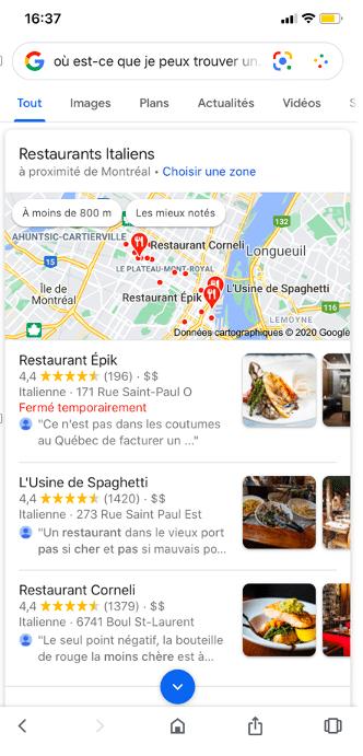 résultat SEO vocal restaurant italien téléphone intelligent