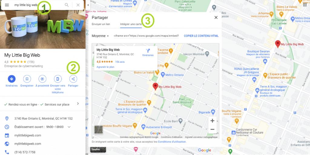 intégrer une carte Google Maps sur site Web