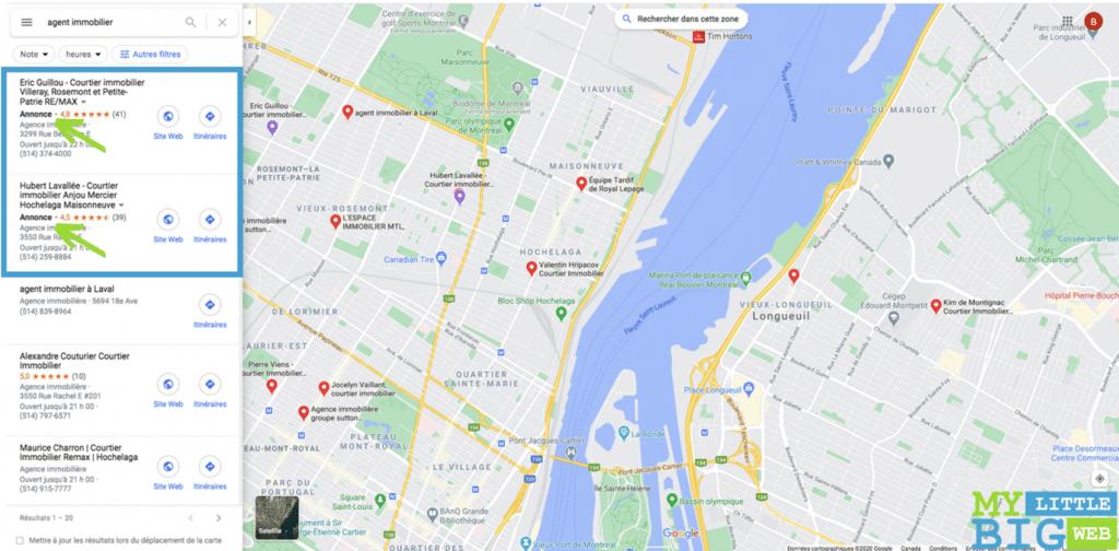 Annonces de proximité Google Maps