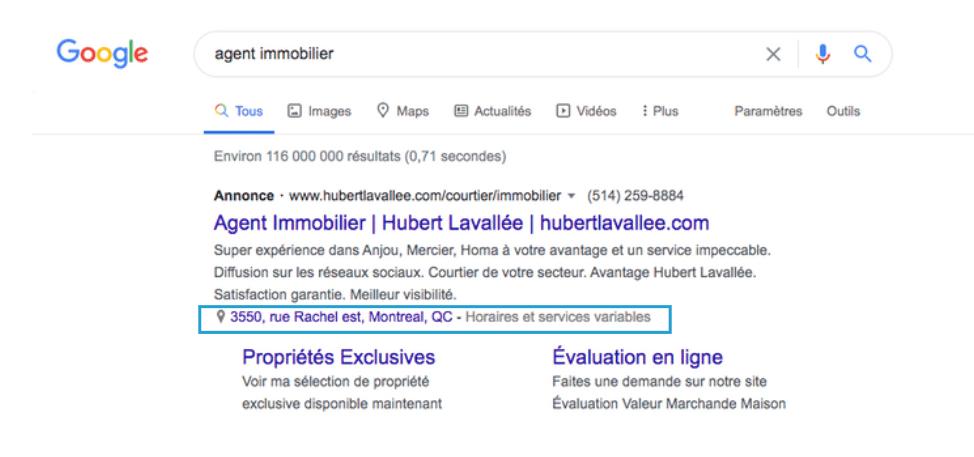 extension de lieu optimisation google maps