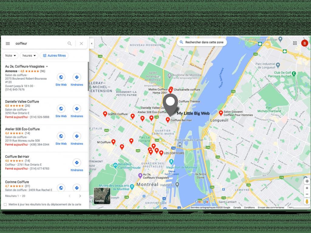 géolocalisation coiffeur SEO Google Maps