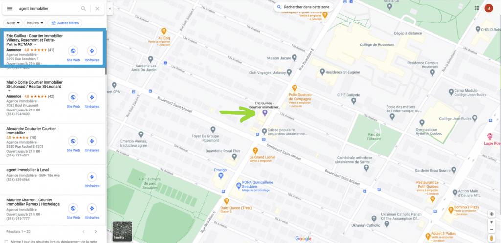 annonce de proximité Google Maps agent immobilier