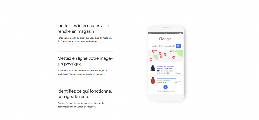 Campagne Google Shopping sur Google Maps