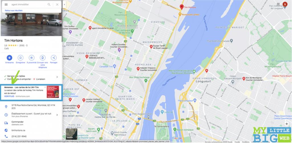 Annonce de promotion Google Maps