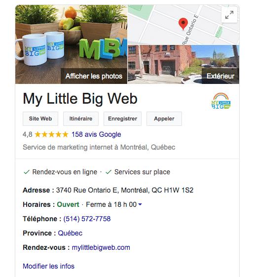 Création fiche Google Mon Entreprise