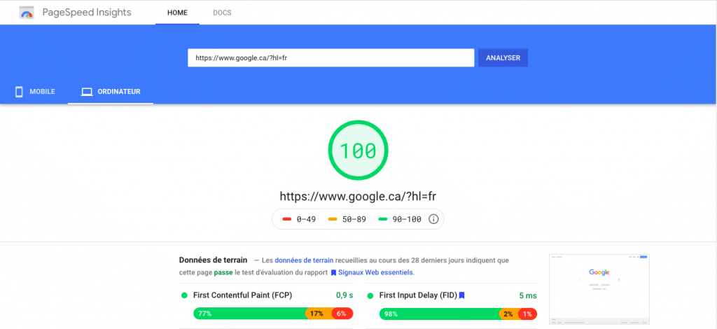Vitesse de chargement page - Google Page Speed