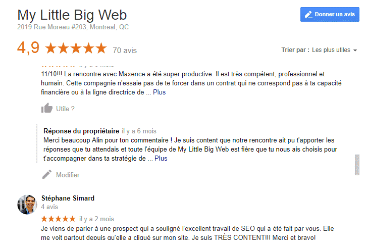 Avis Google MLBW agence marketing web