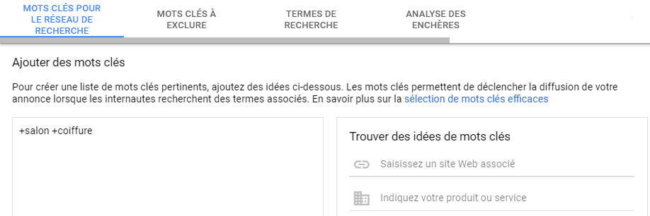 ajout-mot-cle-Google Ads-avec-modificateur-de requete-large