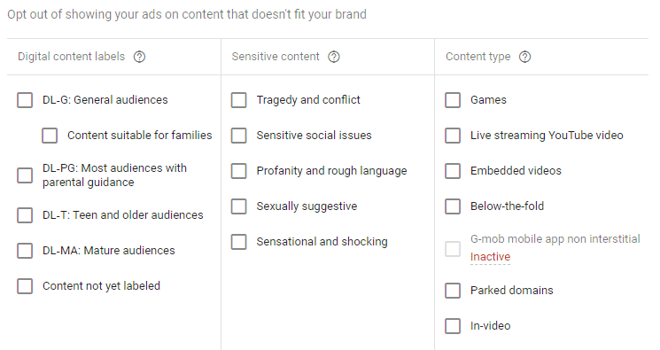 Display Campaign Excluding Content