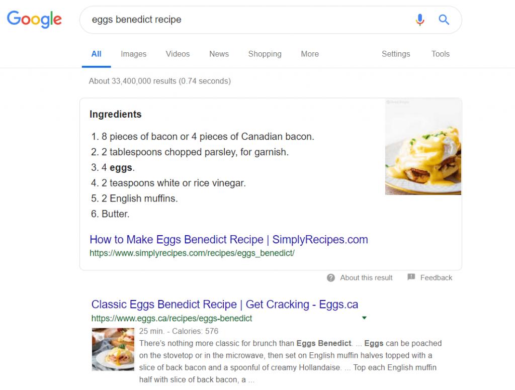 Google Search Example Eggs Benedict Recipe