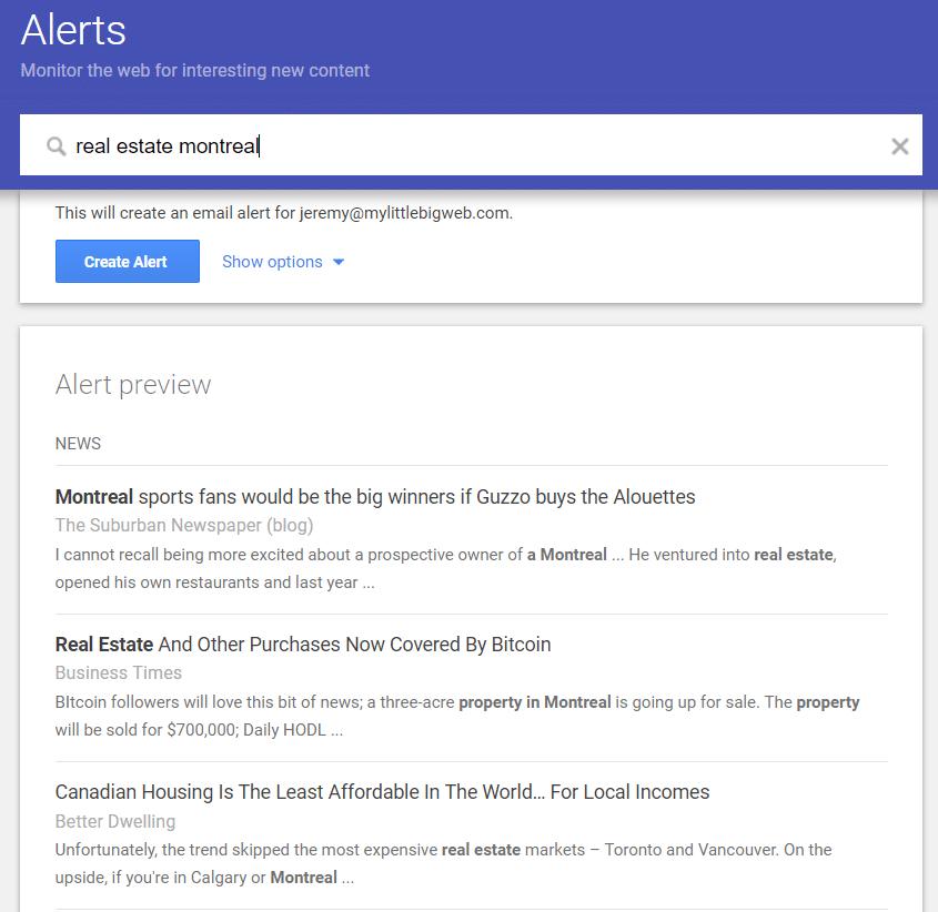 Google Alerts Search