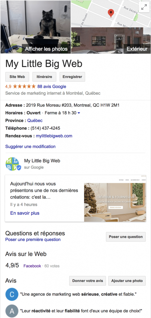 Google mon entreprise avis client seo local my little big web