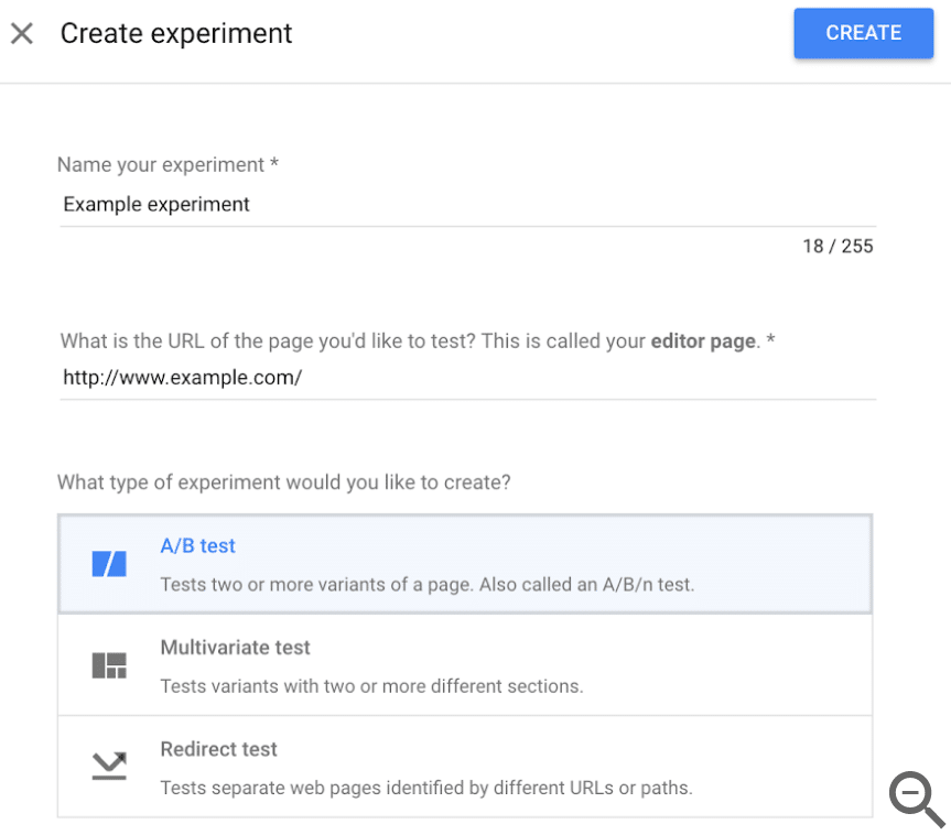 Google Optimize Create an Experiment