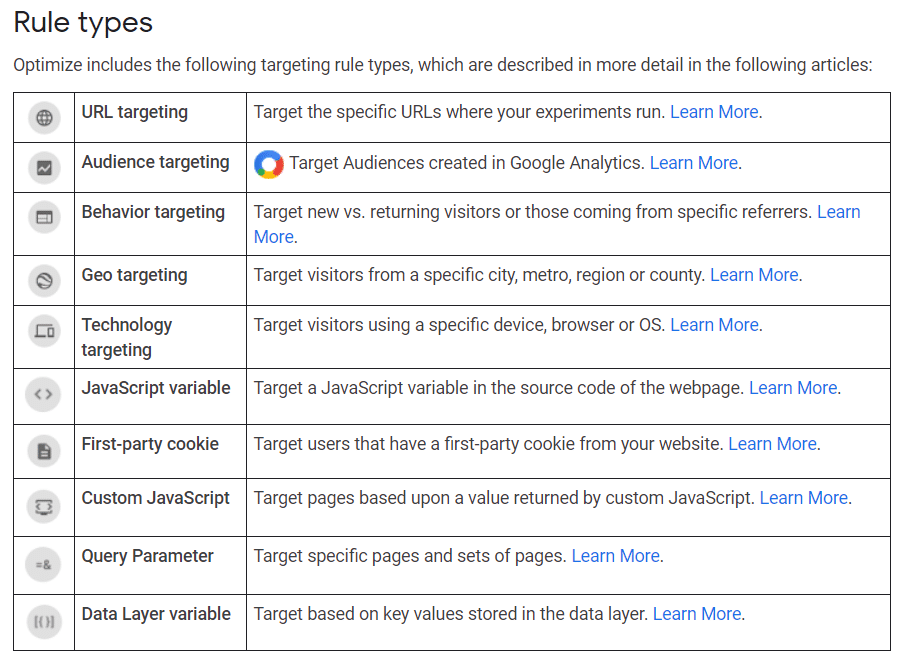 Google Optimize Rule Types