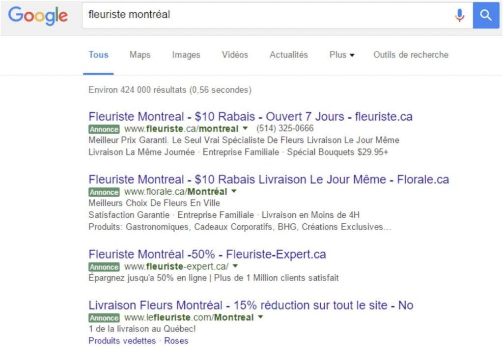 annonces SEA sur Google pour un fleuriste à Montréal