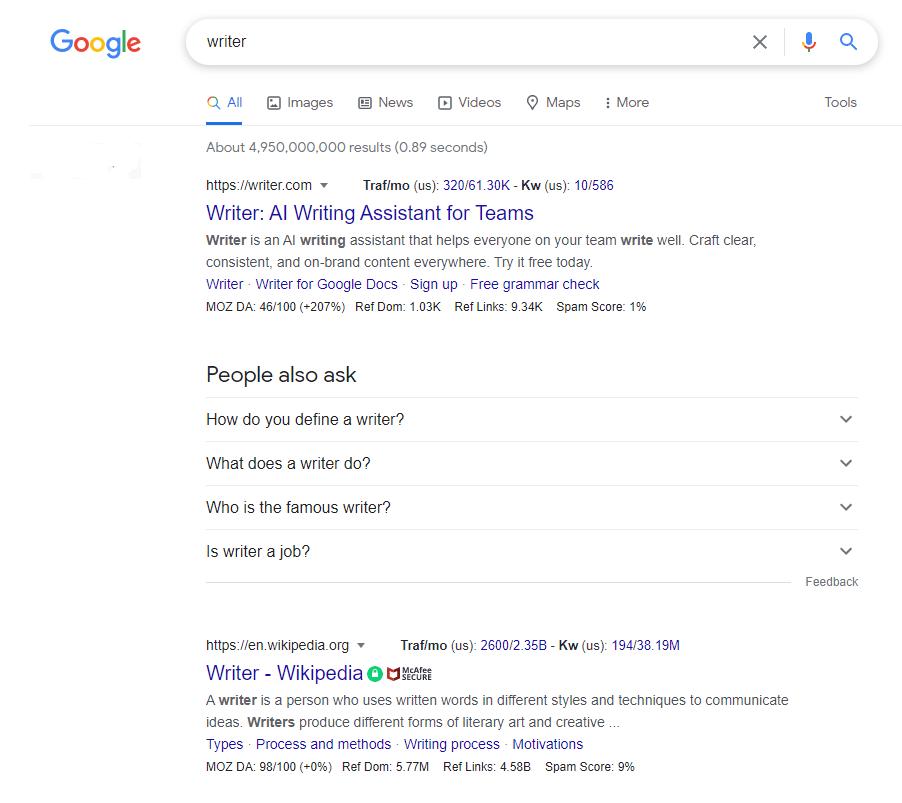 writer keyword google search