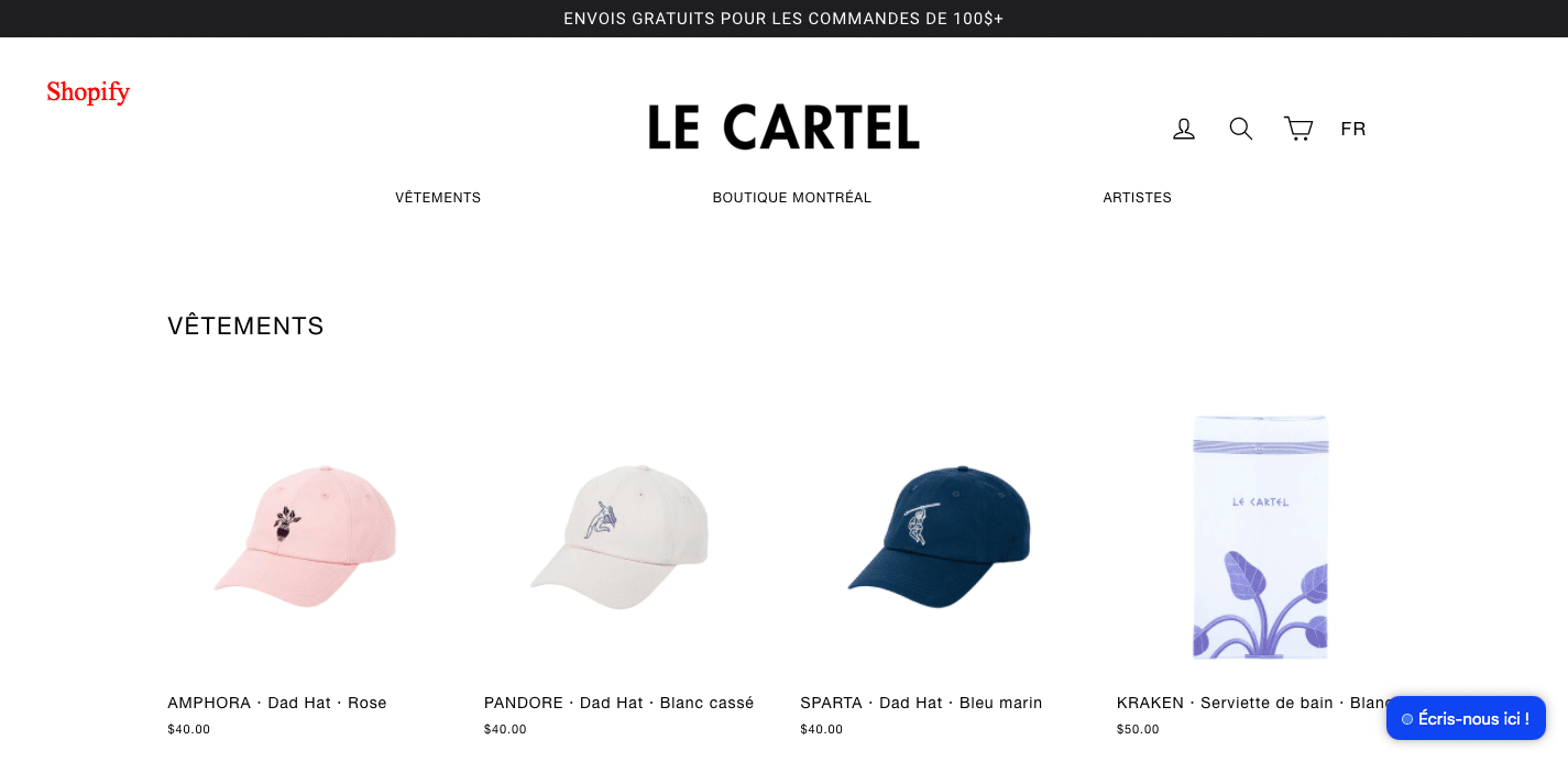exemple cms shopify